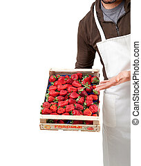 Strawberries in box - Italian fresh strawberries in wooden...
