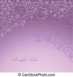 lilac background with hand drawing oarnate