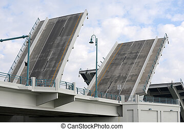Drawbridge - drawbridge opening for boats to pass under