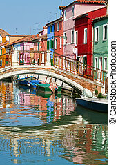 Colourful houses in sunny Burano - Bridge and multicolored...