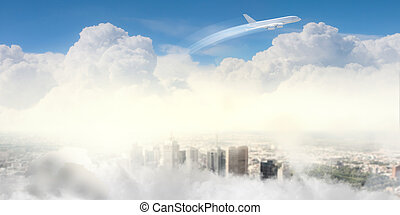 Image of airplane in sky - Image of flying airplane in clear...