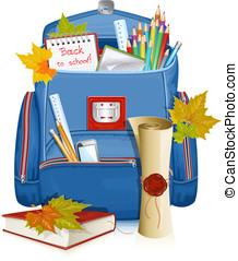Back to school! School bag with education objects. - Back to...