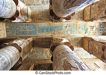 Hypostyle Hall Dendera Temple - columns and seiling of the...