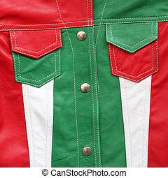 detail of leather jacket in colors of Italy, Florence