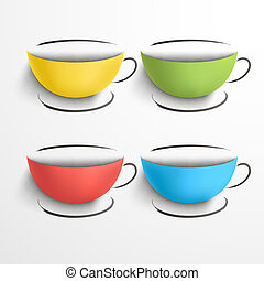 Set of colored cups with a saucers
