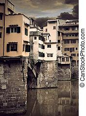 Ponte Vecchio - Detail of Ponte Vecchio and river Arno,...