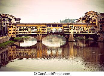 Ponte Vecchio - Vintage style photo of ponte Vecchio in...