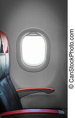 Passenger seat in plane with window aside - Side view of...