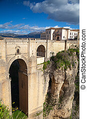Very famous bridge in Ronda - View of buildings in new town...