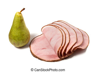 singlde pear and smoked meat slices isolated on the white background