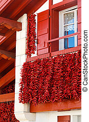 Pepper Frontage - A typical basque frontage with bunches of...