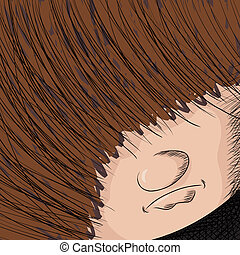Long Haired Person - Close up cartoon of person with hair...