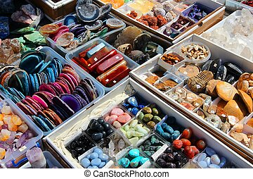 Precious stones - Colorful gemstones on sale at a flea...