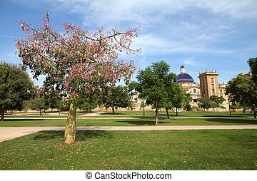Valencia, Spain. Famous Turia gardens, park made in old...