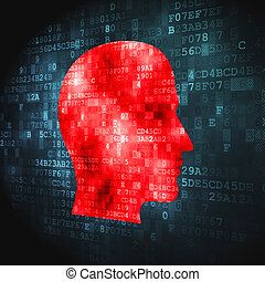 Data concept: Head on digital background - Data concept:...