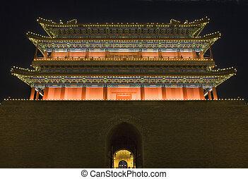 Beijing,  Tiananmen, derékszögben,  zhengyang, férfiak,  qianmen, kína, Éjszaka, kapu