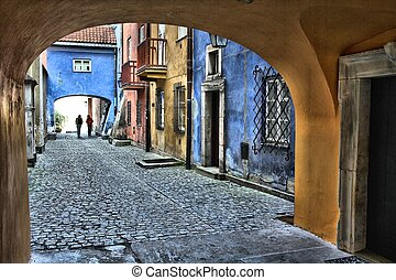 Warsaw old town - Warsaw, Poland. Old Town street. UNESCO...