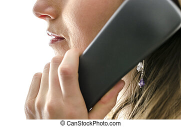 Cropped view of female call center employee talking on a...