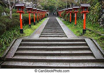 Kurama Temple, Kyoto - Kurama Temple stairs in Kyoto, Japan....