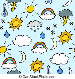 Seamless weather background - Doodle seamless background...