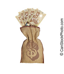 Bag of money - Canadian currency in money bag