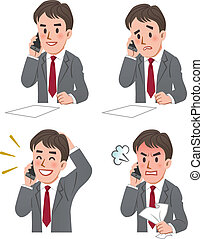 expression of Businessman on phone - Set of businessman...