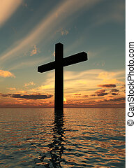 The Holy Cross Landscape - The cross of Jesus in a tranquil...