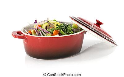vegetarian food in red saucepan
