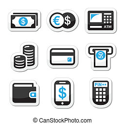 Money, atm - cash machine vector ic - Finance labels - atm,...