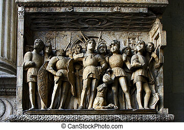 in the castle in naples italy - incision and statue in the...