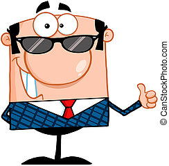 Happy Business Manager With Sunglasses Showing Thumbs Up