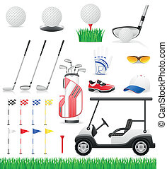 set golf icons vector illustration isolated on white...