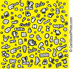 Doodled musical icons collection in black and white with...