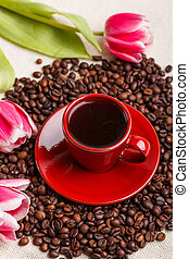 Cup of coffee - Red cup of coffee with tulips