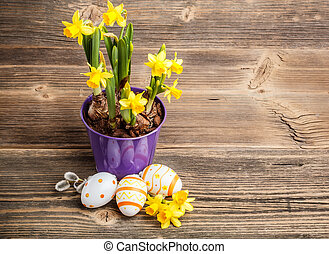 Easter composition - Colorful easter eggs and beautiful...