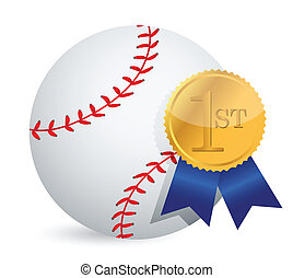 Baseball ball with award illustration design over white