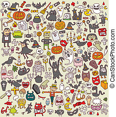 Big Halloween Icons Collection of numerous fine small hand...