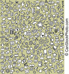 XXL Doodle Icons Set in black and white - XXL Doodle Icons...
