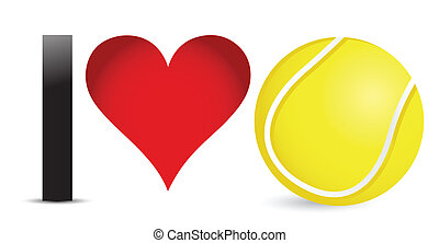 I love Tennis, Heart with Tennis Ball Inside illustration...