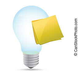 Modern light bulb with stick note