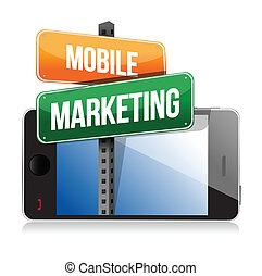 Smart phone with mobile marketing sign illustration design...