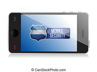 Smart phone with mobile security shield illustration design...