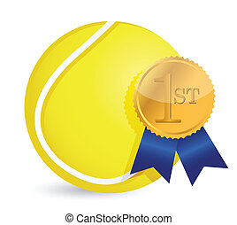 Tennis ball with award illustration design over white