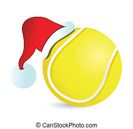 Tennis Santa Cap illustration design over a white background