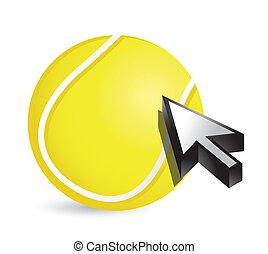Tennis ball with cursor arrow - sport shopping concept...