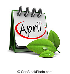 april calendar - 3d illustration of spring calendar, april...