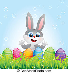 easter bunny - vector easter bunny with colorful eggs