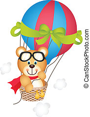 Hot air balloon with teddy bear - Scalable vectorial image...