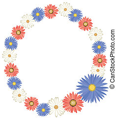 red white blue flower frame vector