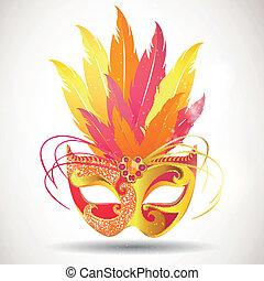 vector, carnaval, máscara